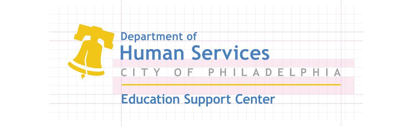 DHS Education Support Center Logo Construction Grid